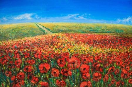 Acryl landschap met blauwe lucht en rode papavers