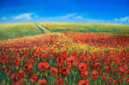 Acrylic landscape with blue sky and red poppies Stock Photo