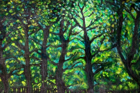 Acrylic painting landscape with green trees and light photo