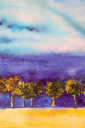 Watercolor bright landscape with trees and blue sky photo