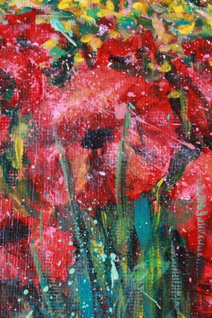 Acrylic landscape with blue sky and red poppies photo