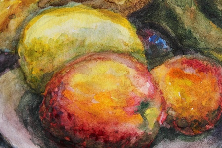still life: Watercolor illustration with orange fruits