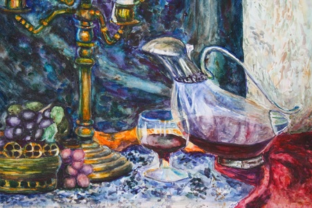 Watercolor still life with fruits and glasses photo