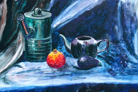 reflection of life: Watercolor still life with fruits and glasses
