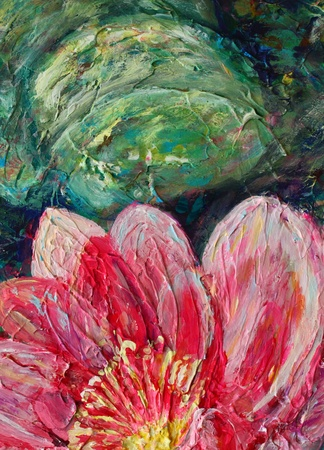 Acrylic still life with pink lotus flower photo