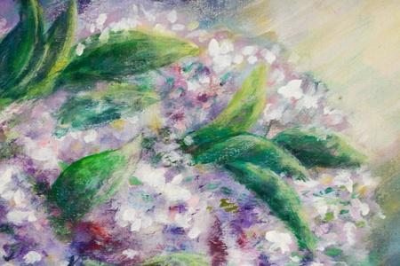 log basket: Acrylic still life with lilac flowers