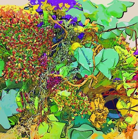 Abstract baright image with drawing flowers photo
