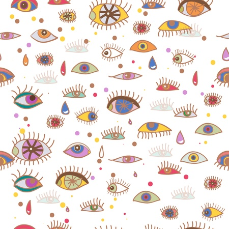 Seamless abstract vector background with drawing eyes Vector