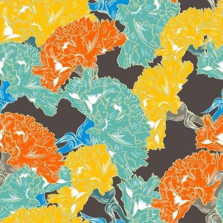 clavel: De fondo sin fisuras con las flores de dibujo