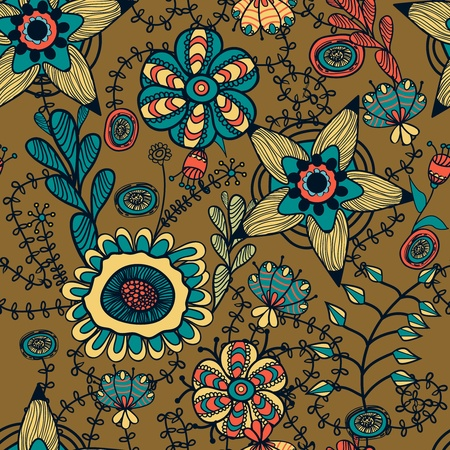 Abstract seamless pattern with bright drawing multicolor flowers