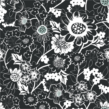 Seamless background with drawing garden flowers Vector