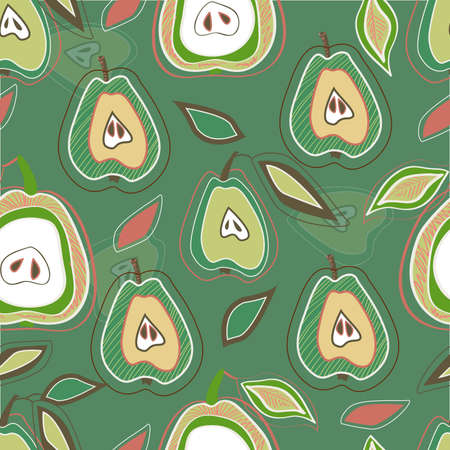 Seamless green pattern with drawing pears Vector
