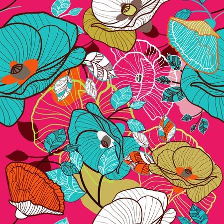 canvas print: De fondo sin fisuras con el dibujo de flores multicolores