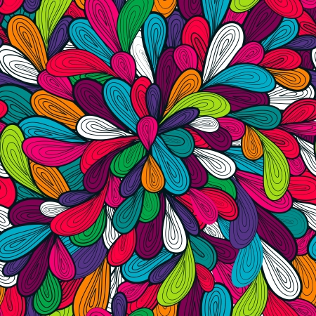 psychedelic: Abstract seamless vector pattern with bright drawing multicolor drops
