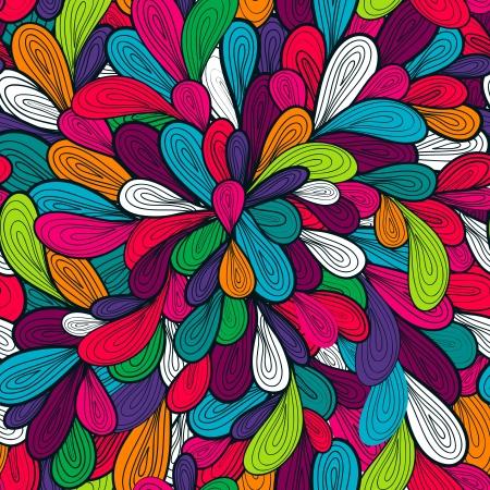 Resumen patrón de vectores sin fisuras con el brillante dibujo multicolor de gotas