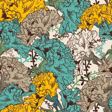 clavel: Vector de fondo sin fisuras con las flores de dibujo Vectores