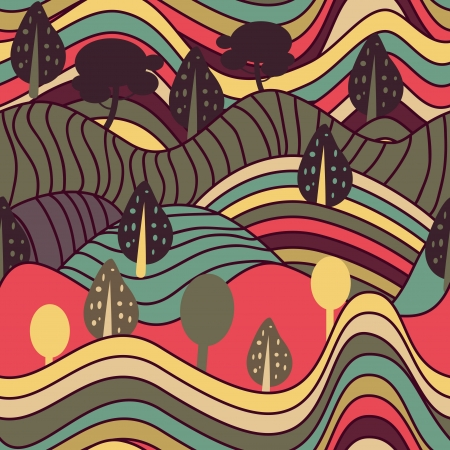 psychedelic background: Seamless vector background with drawing striped landscape
