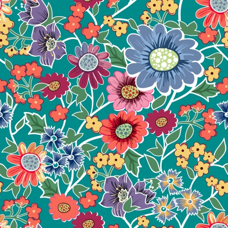 canvas print: Seamless vector background with drawing garden flowers Illustration