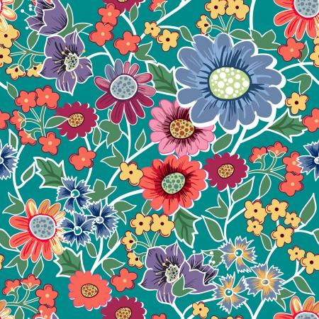 canvas print: Vector de fondo sin fisuras con el dibujo de las flores del jard�n