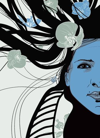 Abstract vector portrait with beautiful girl Vector