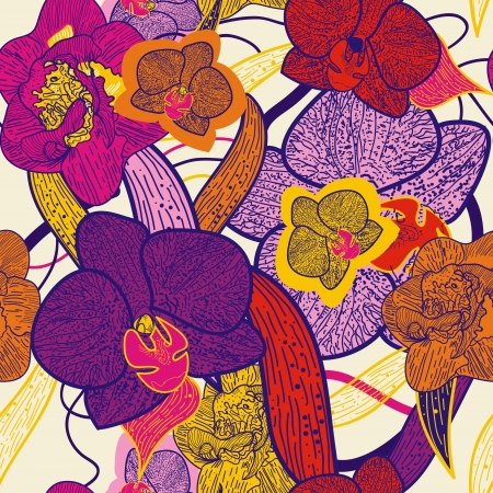 Seamless vector background with drawing multicolor flowers Vector