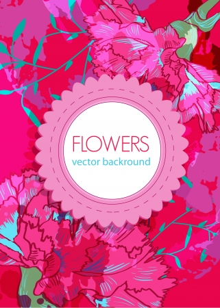 flower card: Vector floral background with pink drawing flowers Illustration