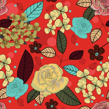 wealth abstract: Seamless vector background with drawing multicolor garden flowers