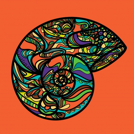 nautilus shell: Abstract vector shell with bright psychedelic pattern