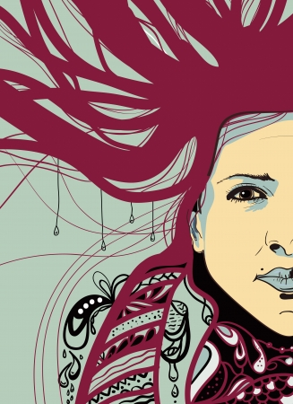 Abstract portrait with beautiful girl Vector
