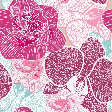 Seamless background with drawing multicolor flowers Vector