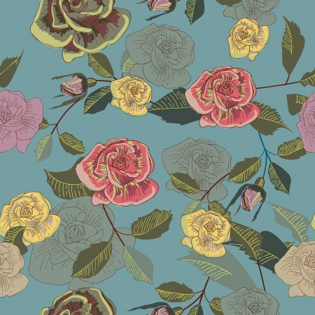 vintage roses: Seamless background with drawing multicolor garden flowers