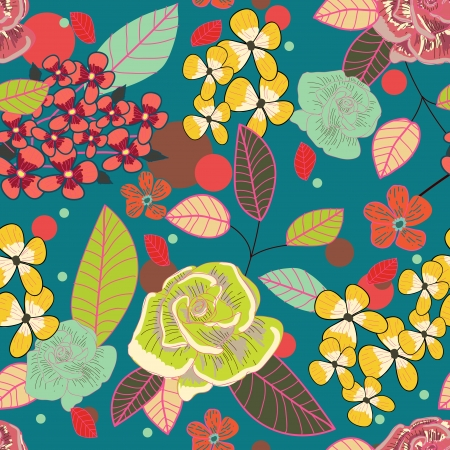 Seamless background with drawing multicolor garden flowers Vector