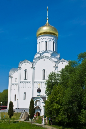 Landscape with beautiful russian temple photo
