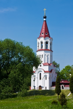 steeples: Landscape with beautiful russian temple