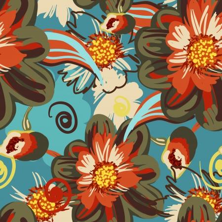 canvas print: Patr�n de vectores sin fisuras con las flores de dibujo