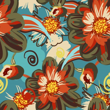 repeating pattern: Seamless vector pattern with drawing flowers Illustration
