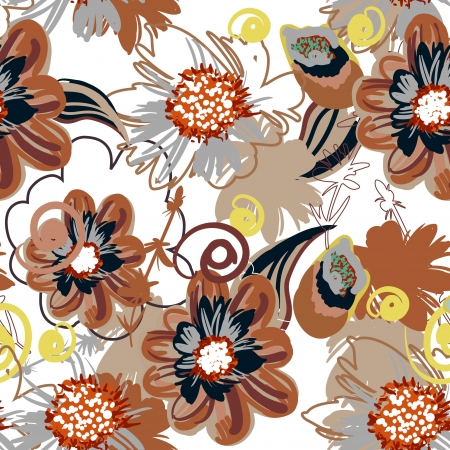 flores: Seamless vector pattern with drawing flowers Illustration