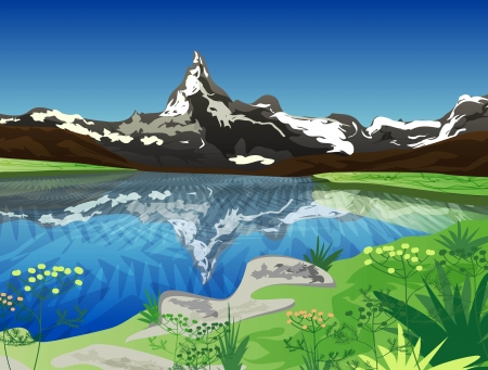 Vector drawing landscape with mountains