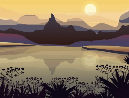 Vector drawing landscape with mountains Stock Vector - 14016874