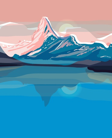Vector drawing landscape with mountains Vector