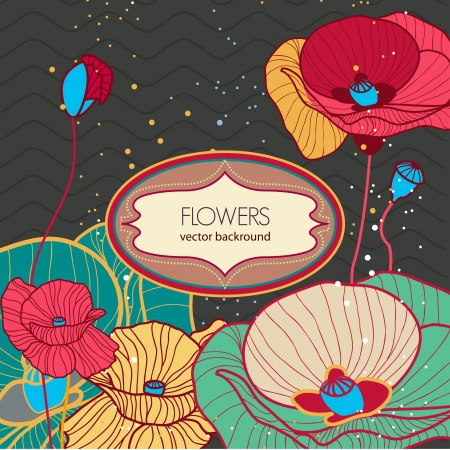 Vector background with drawing poppies flowers Vector