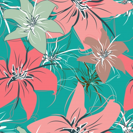turquiose: Seamless vector pattern with drawing flowers Illustration