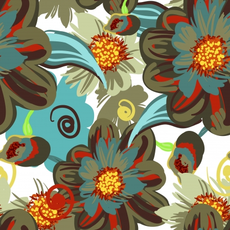 canvas print: Seamless pattern with drawing flowers Illustration