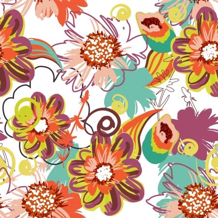 flores vintage: Seamless pattern with drawing flowers Illustration