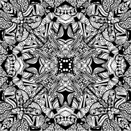 symmetric psychedelic seamless black pattern Vector