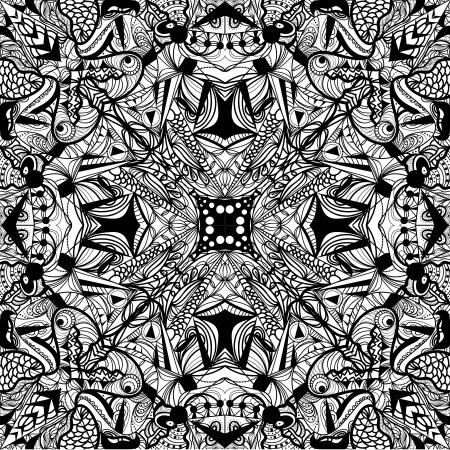 symmetric: symmetric psychedelic seamless black pattern Illustration
