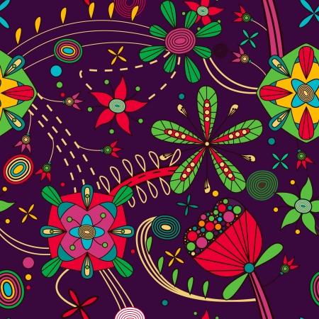 indian light: Patr�n sin fisuras con las flores de dibujo Vectores