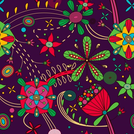 indian light: Seamless pattern with drawing flowers Illustration