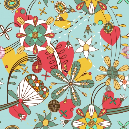 psychedelic background: Seamless pattern with drawing flowers Illustration