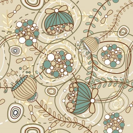 flores vintage: Seamless vector pattern with drawing flowers Illustration